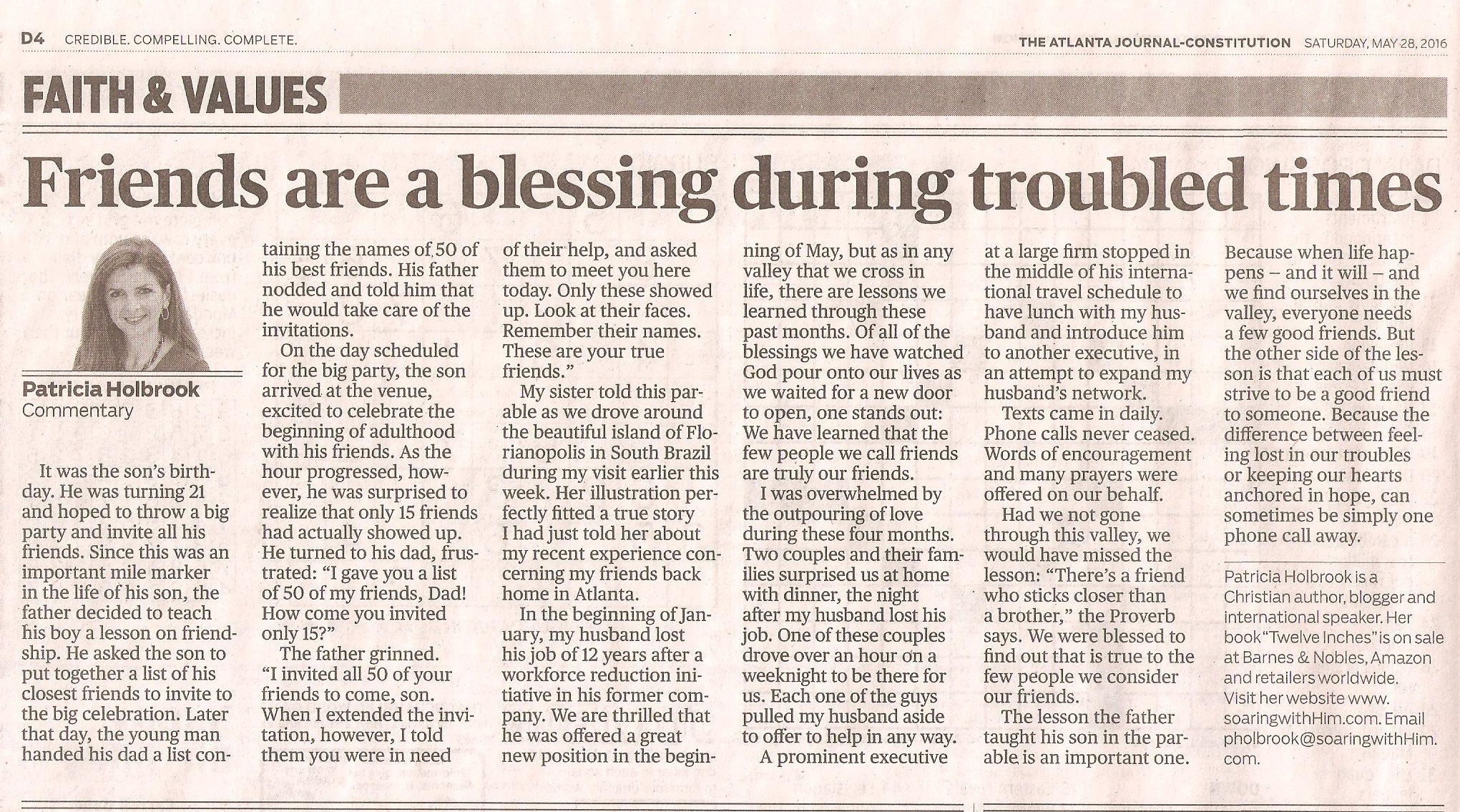 AJC - 5-28-2016 Friends are blessings during trouble times